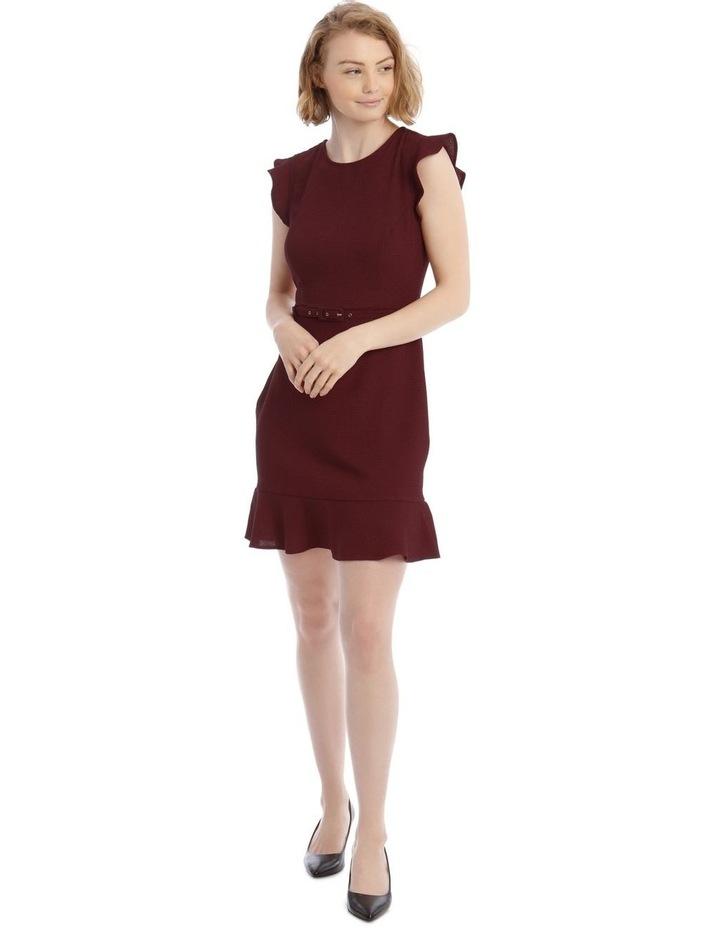 Burgundy Belted Flutter Sleeve Dress image 1
