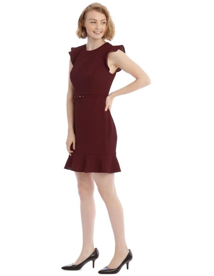 Burgundy Belted Flutter Sleeve Dress image 2