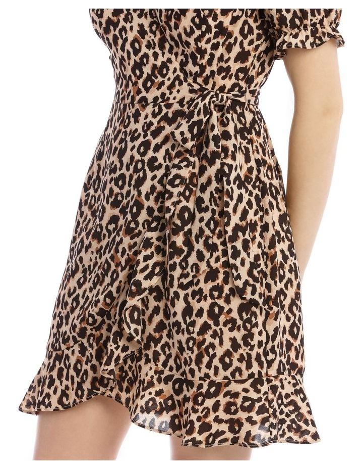 Short Puff Sleeve Wrap Dress image 4