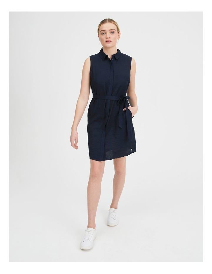 Belted Sleeveless Shirt Dress With Pockets image 1