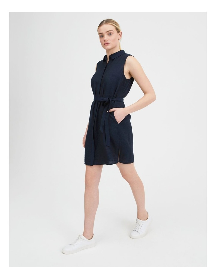 Belted Sleeveless Shirt Dress With Pockets image 2