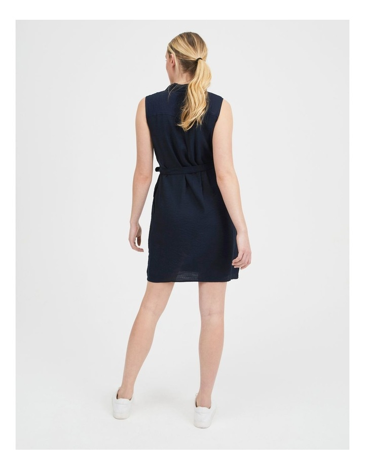 Belted Sleeveless Shirt Dress With Pockets image 3