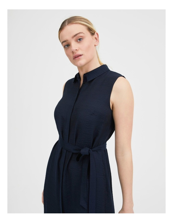 Belted Sleeveless Shirt Dress With Pockets image 4