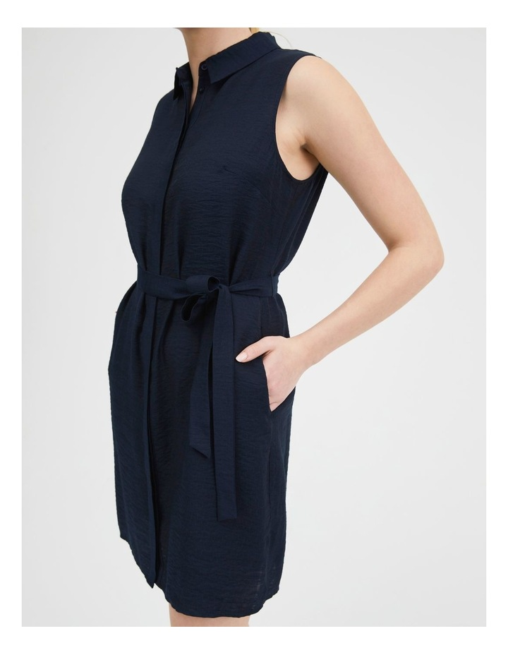 Belted Sleeveless Shirt Dress With Pockets image 5