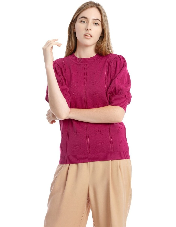 Puff Sleeve Pointelle Knit Top image 1