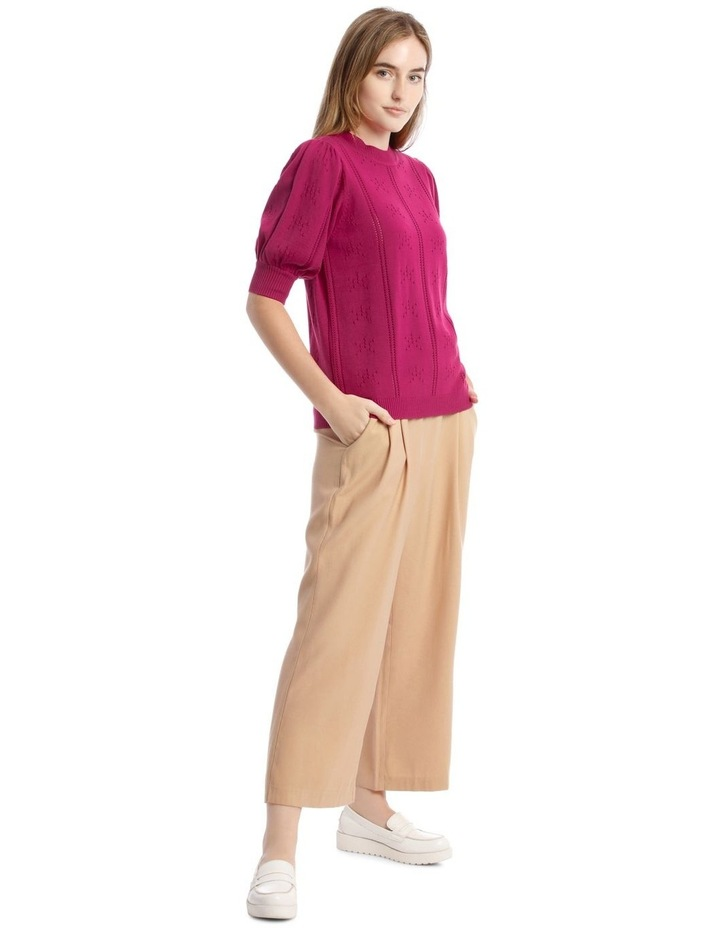 Puff Sleeve Pointelle Knit Top image 2