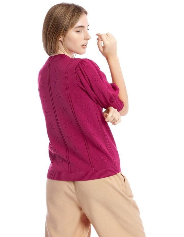 Puff Sleeve Pointelle Knit Top image 3