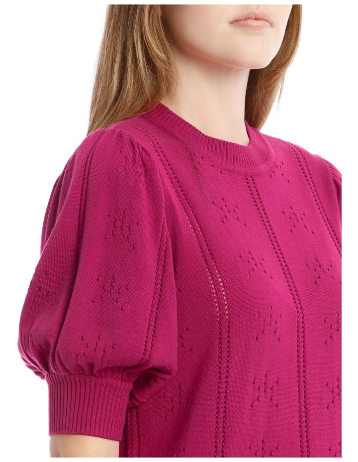 Puff Sleeve Pointelle Knit Top image 4