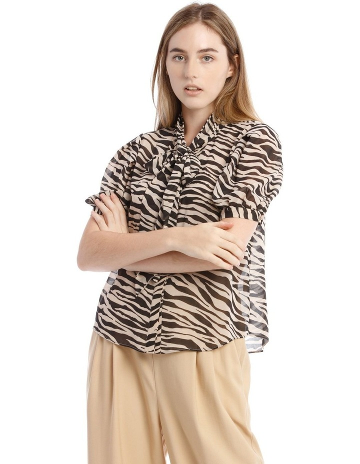 Printed Pussy Bow Top with Prawn Sleeves image 1