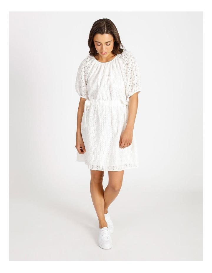 Cotton Tie Waist Puff Sleeve Mini Dress image 1