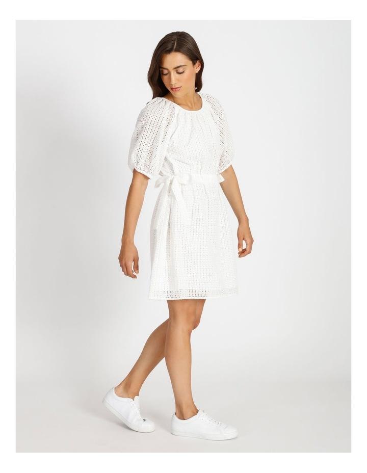 Cotton Tie Waist Puff Sleeve Mini Dress image 2