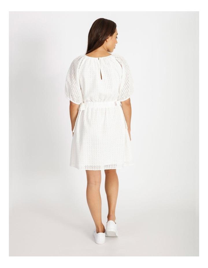 Cotton Tie Waist Puff Sleeve Mini Dress image 3