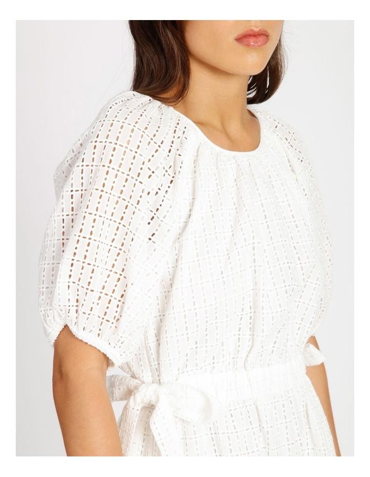 Cotton Tie Waist Puff Sleeve Mini Dress image 4