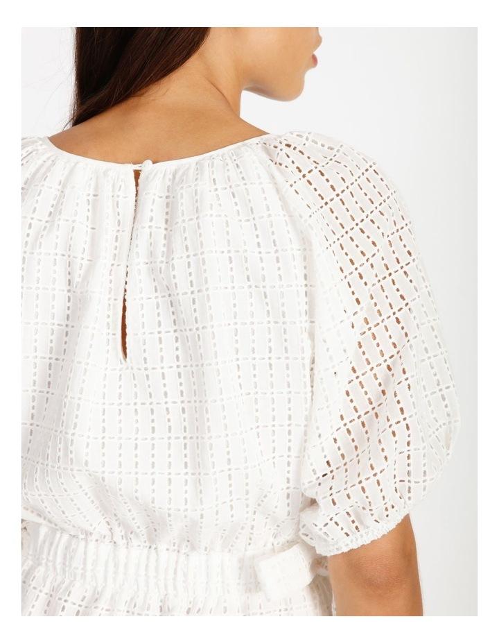 Cotton Tie Waist Puff Sleeve Mini Dress image 5