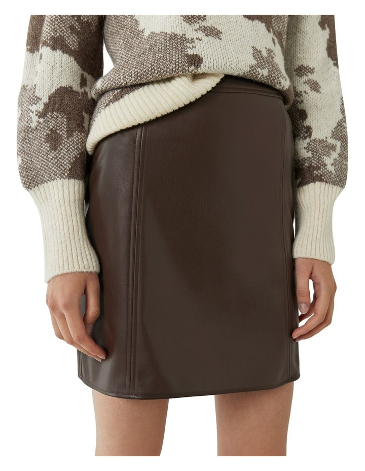 Seamed Detail PU Skirt image 3