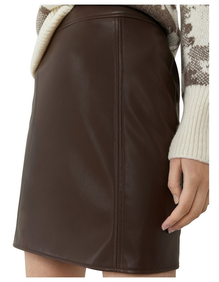 Seamed Detail PU Skirt image 4