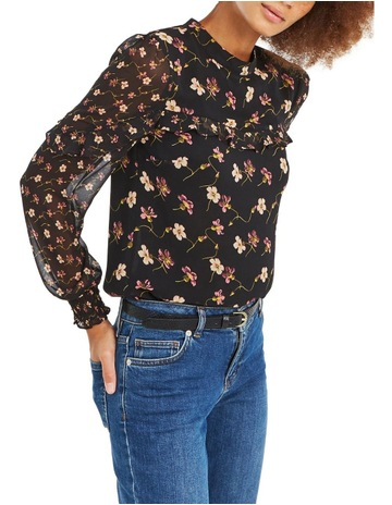 d3dd8203552b OasisFreida Floral Patched L S Chiffon Top. Oasis Freida Floral Patched L S  Chiffon Top