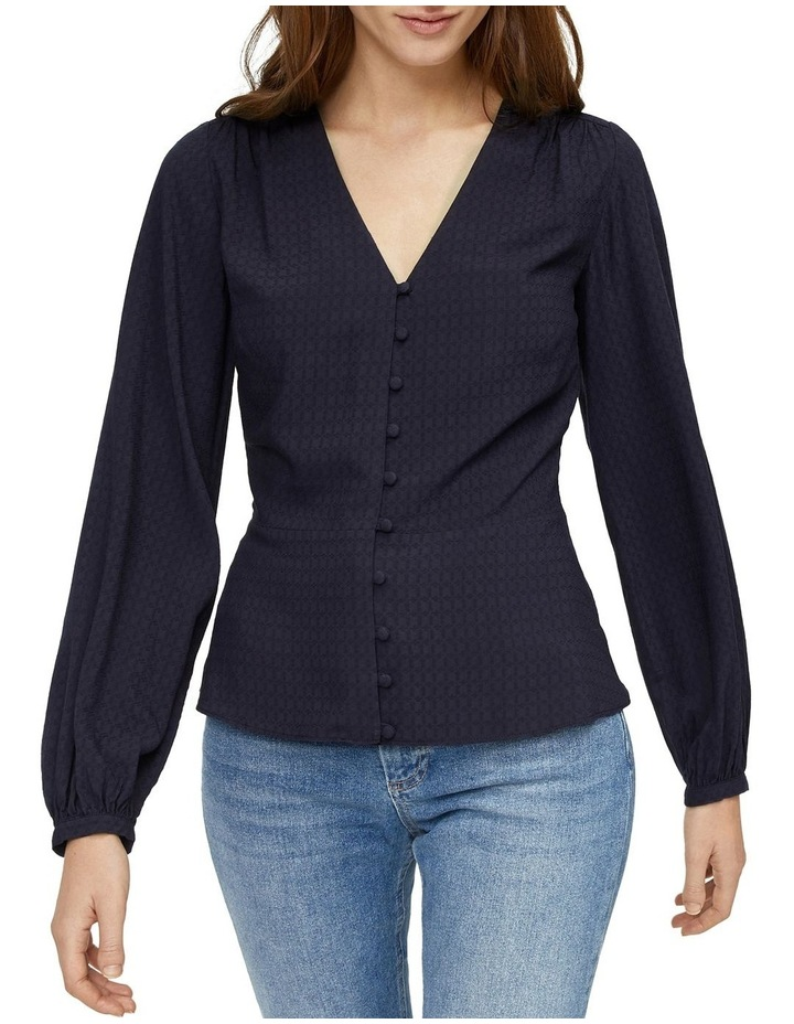 V-Neck Textured Button Front Top image 1