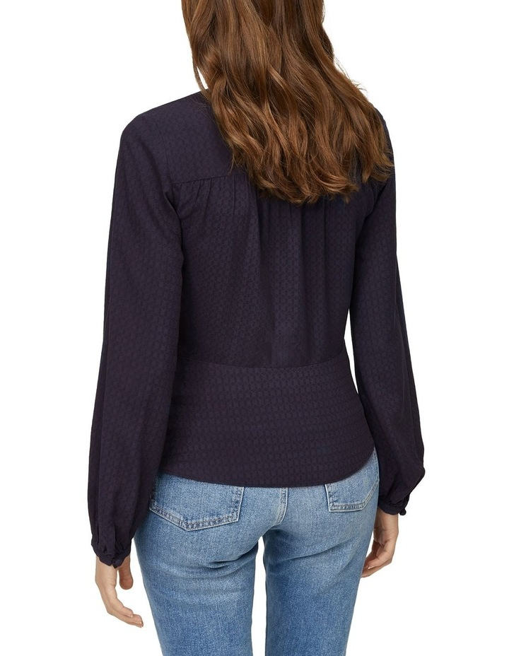 V-Neck Textured Button Front Top image 2