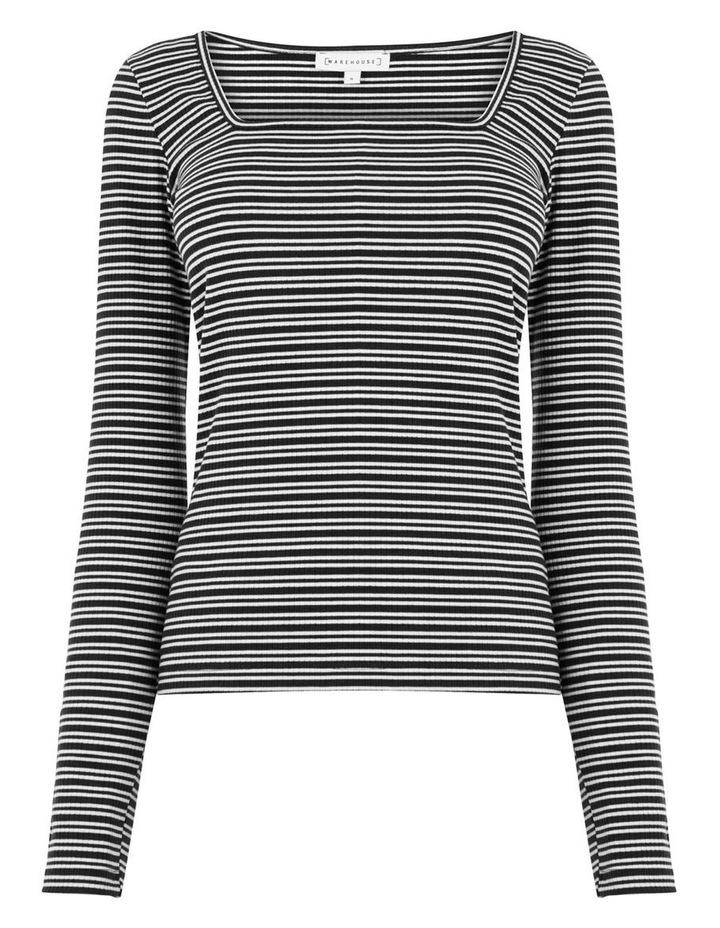 Square Neck Stripe Rib Top image 4