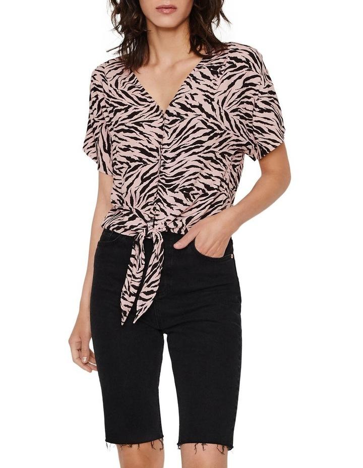 Zebra Tie Front Top image 4