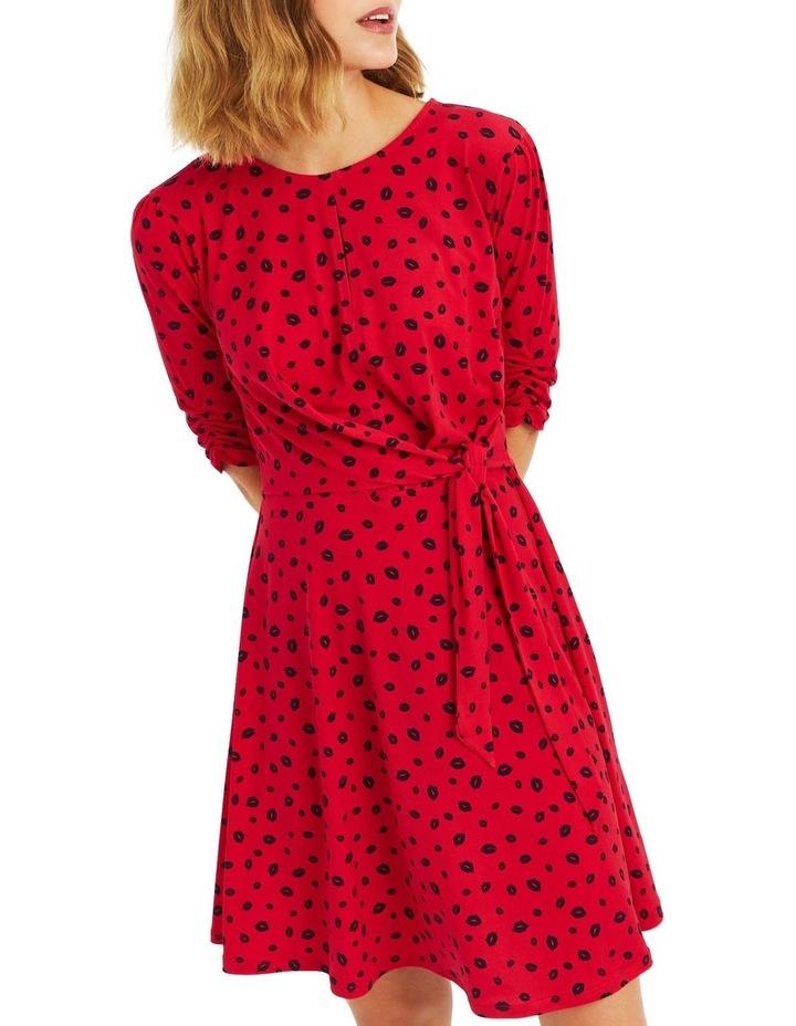 59e3666e882 Lip Print Ruffle Dress image 1