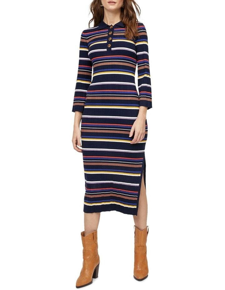 Multi Rib Polo Neck Stripe Dress image 1