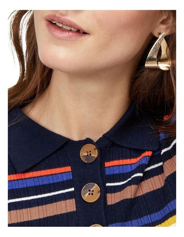 Multi Rib Polo Neck Stripe Dress image 3