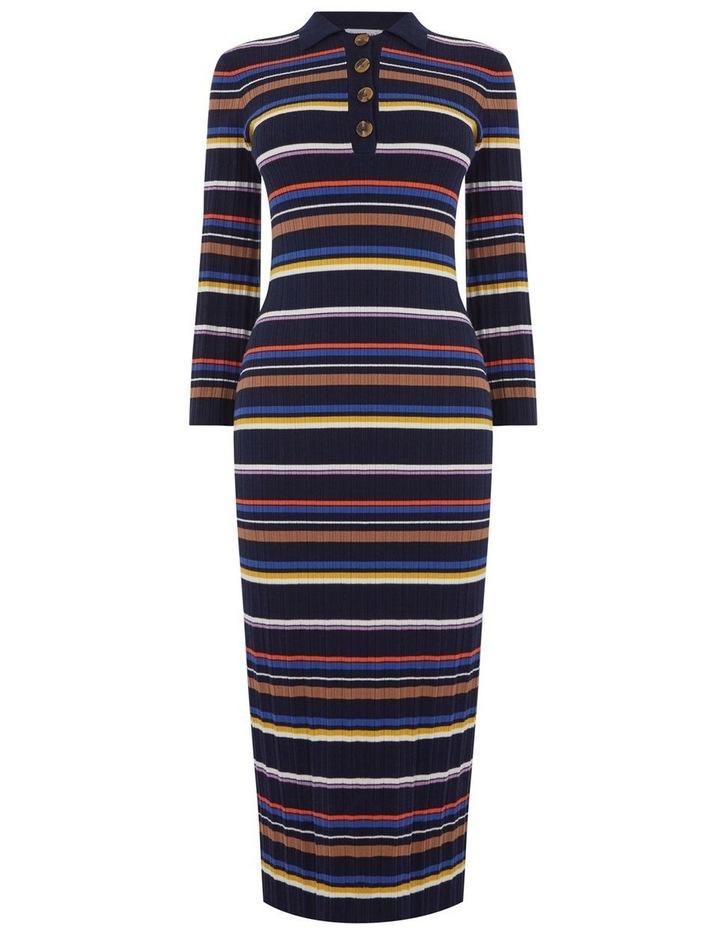 Multi Rib Polo Neck Stripe Dress image 4