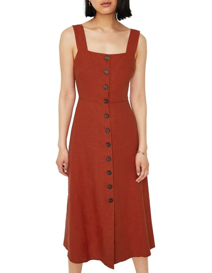 Linen Button Front Midi Dress image 1
