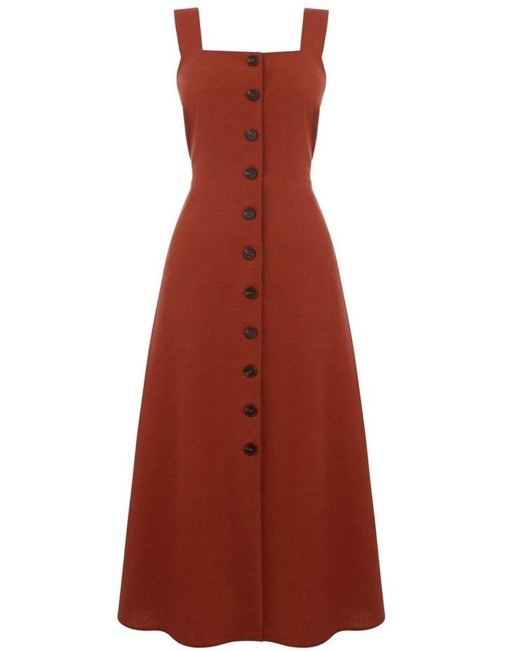 Linen Button Front Midi Dress image 4