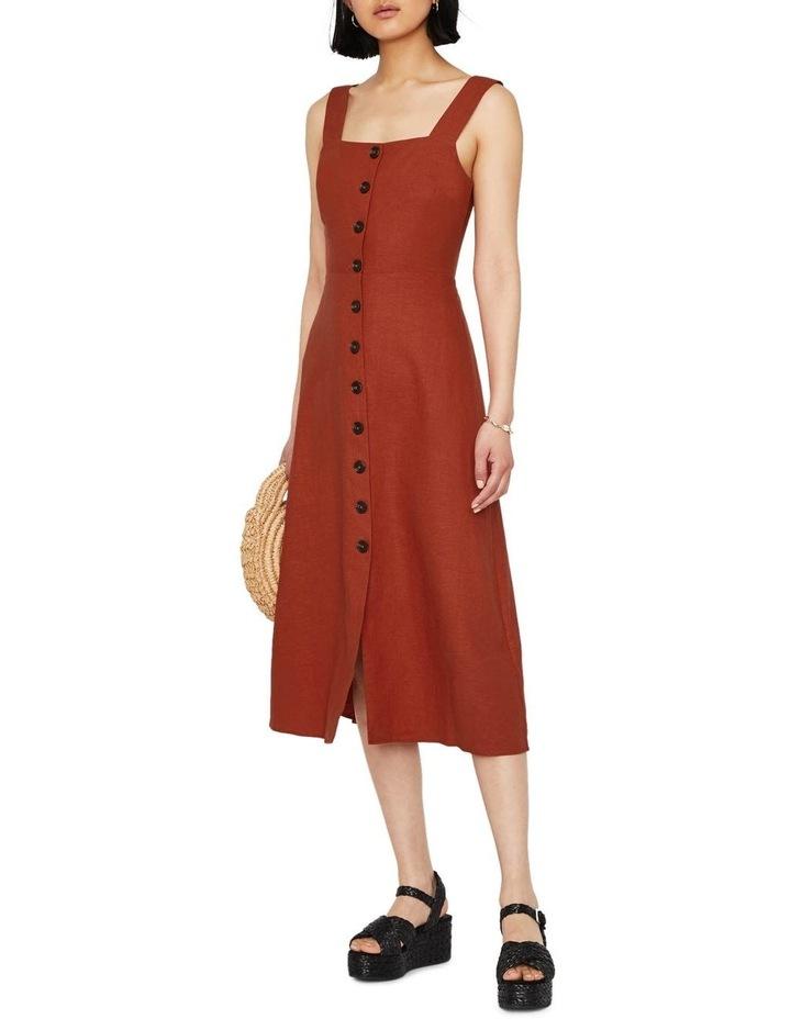 Linen Button Front Midi Dress image 5