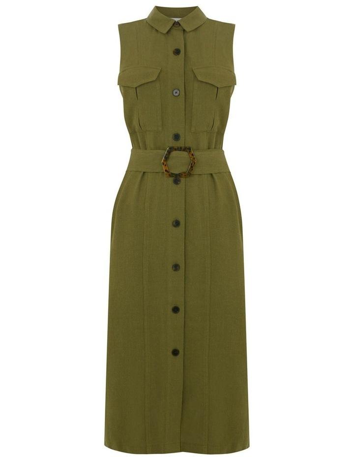 Linen Buckle Shirt Dress image 4