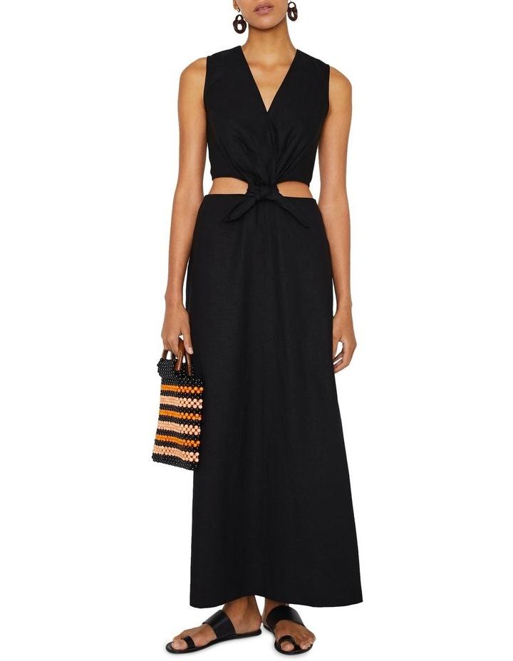 Tie Front Cutout Maxi Linen Dress image 1