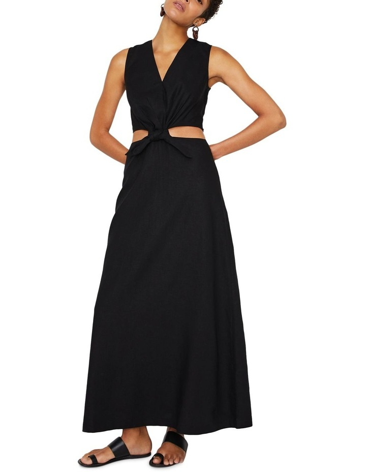 Tie Front Cutout Maxi Linen Dress image 4