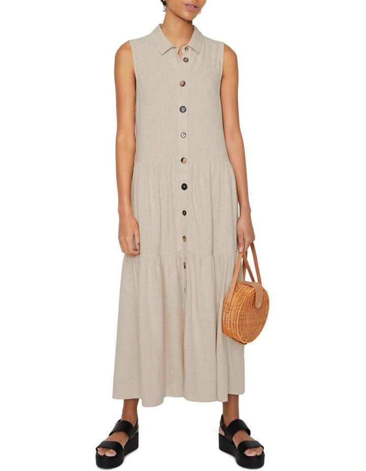 Linen Tiered Shirt Dress image 1