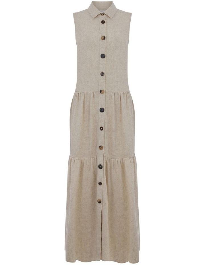 Linen Tiered Shirt Dress image 4