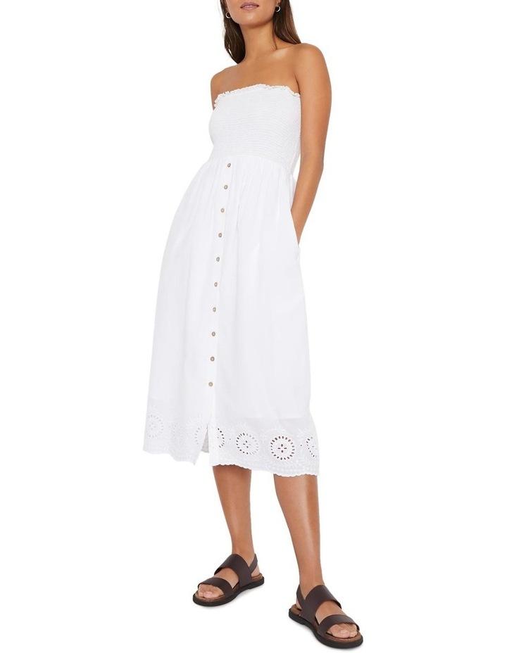 Embroidered Hem Smocked Midi Dress image 1