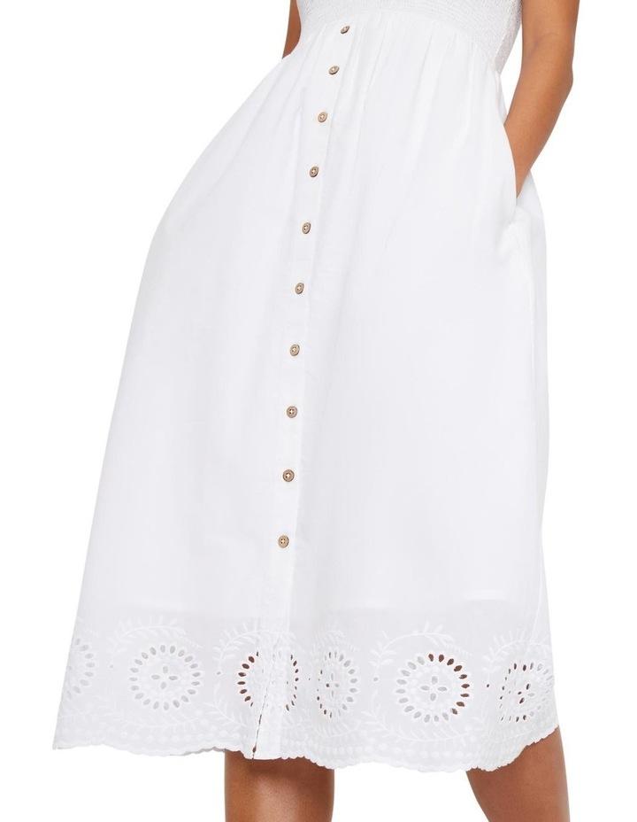 Embroidered Hem Smocked Midi Dress image 3