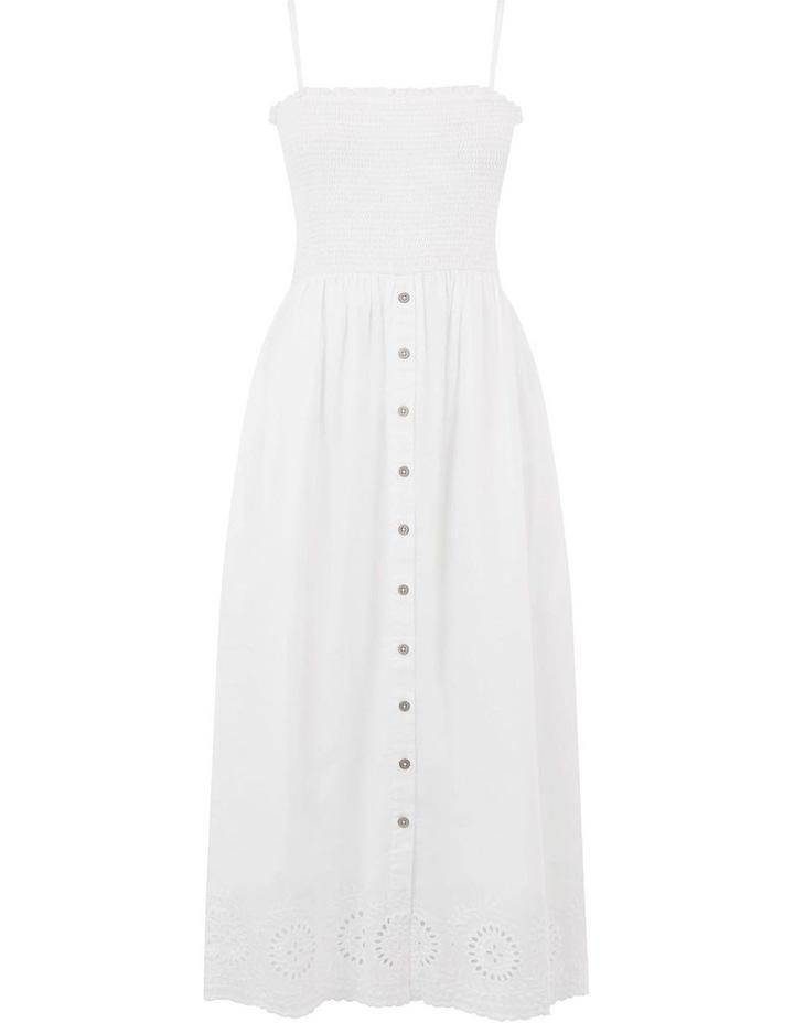 Embroidered Hem Smocked Midi Dress image 5