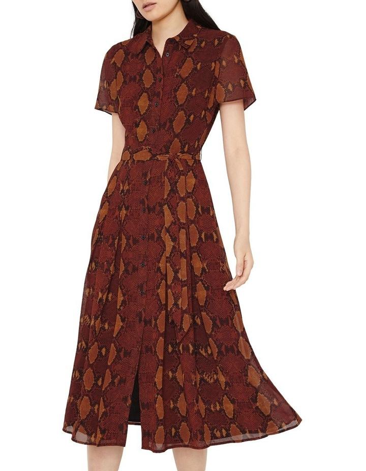 Snake Print Pleated Midi Shirt Dress image 1