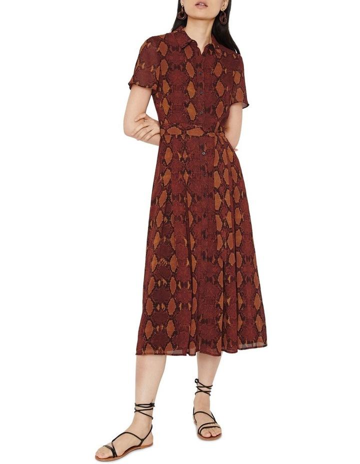 Snake Print Pleated Midi Shirt Dress image 3