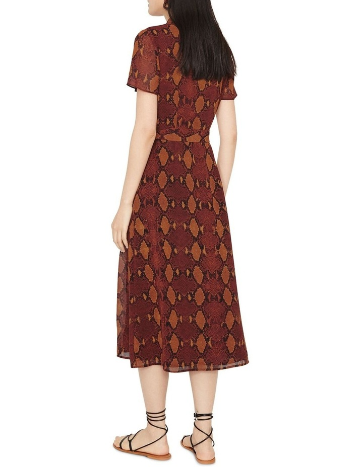 Snake Print Pleated Midi Shirt Dress image 4