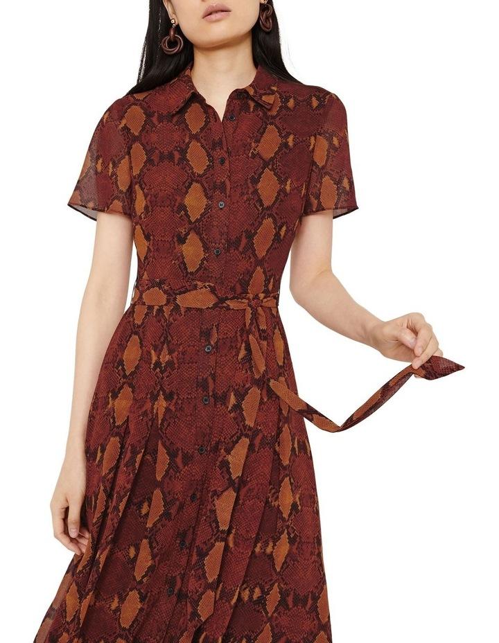 Snake Print Pleated Midi Shirt Dress image 5