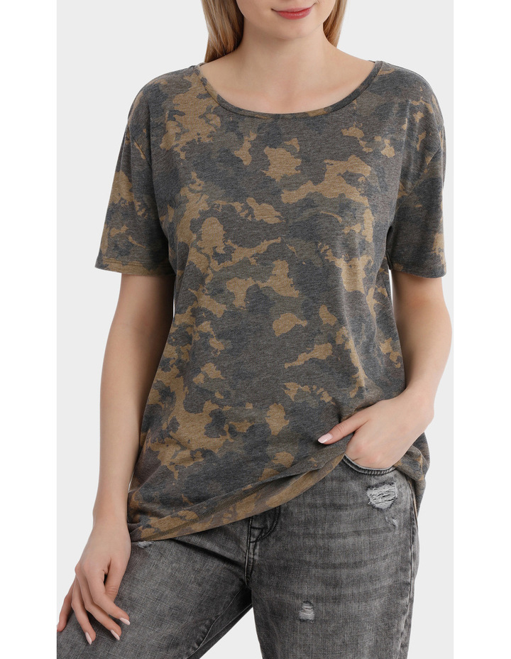 Truly Short Sleeve Camo Top image 1