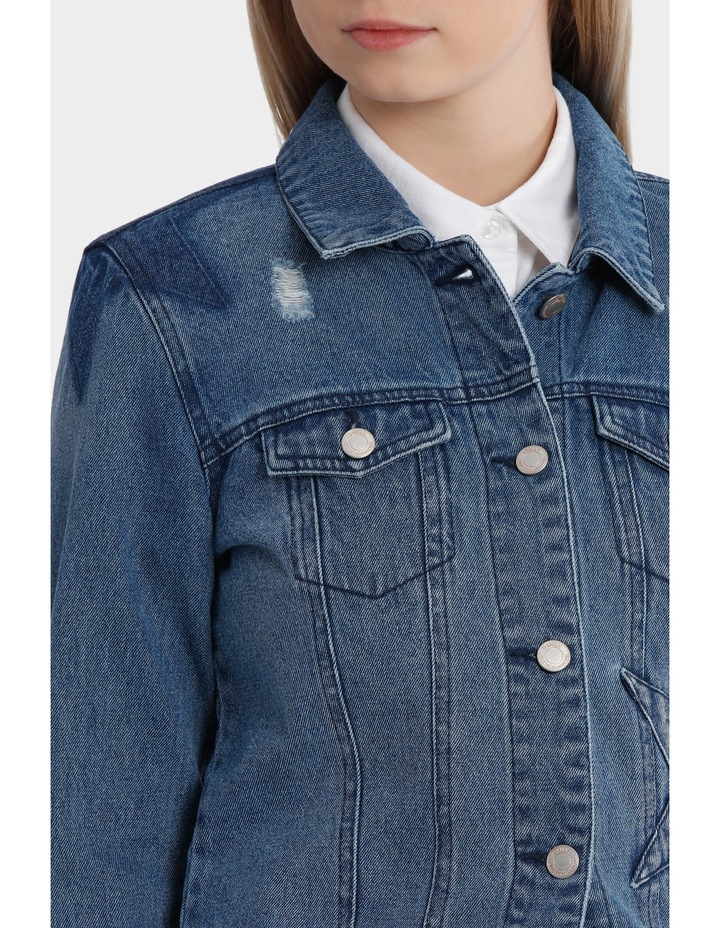 Darcy Long Sleeve Star Mix Patch Denim Jacket image 4