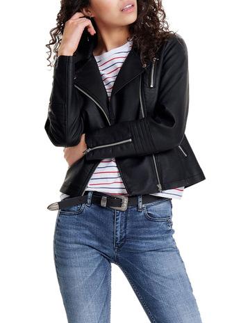 664a7b73c4e ONLY Gemma Faux Leather Biker Jacket