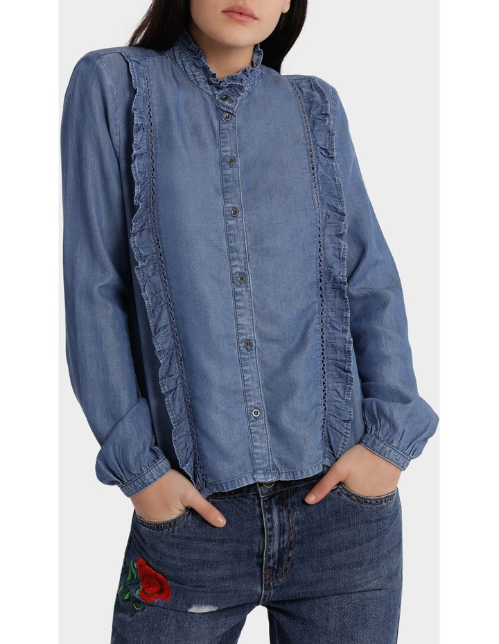Amy Long Sleeve Frill Denim Shirt image 1