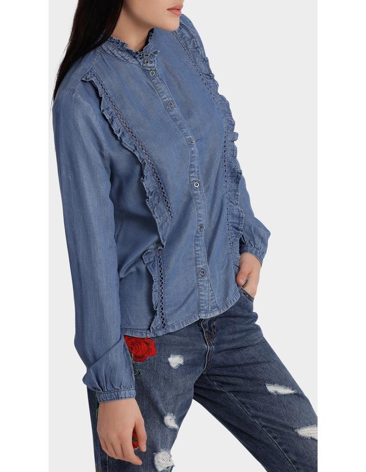 Amy Long Sleeve Frill Denim Shirt image 2