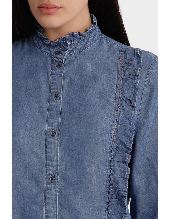 Amy Long Sleeve Frill Denim Shirt image 4